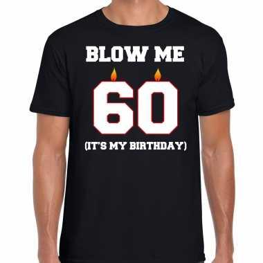 Vintage 60 jaar verjaardag cadeau t-shirt blow me its my birthday zwart voor heren