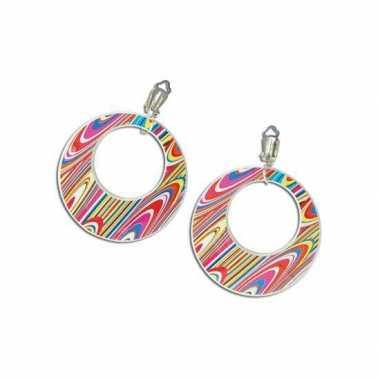 Vintage 60s disco oorbellen gekleurd
