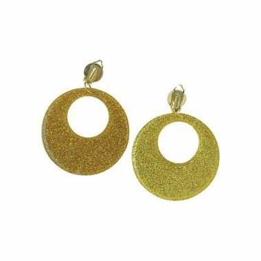Vintage 60s disco oorbellen goud glitter