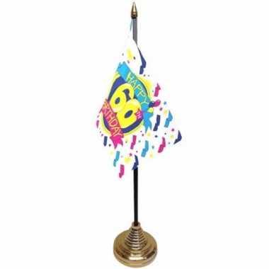 Vintage 60ste verjaardag tafelvlaggetje 10 x 15 cm met standaard