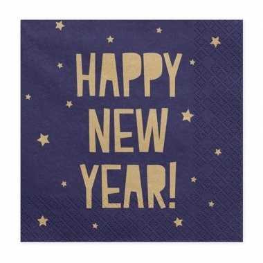 Vintage 60x blauwe happy new year servetten 33 cm oud en nieuw/nieuwj