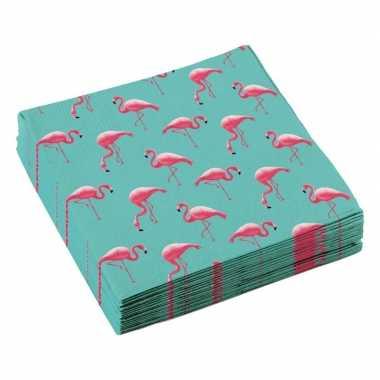 Vintage 60x flamingo servetten 33 x 33 cm