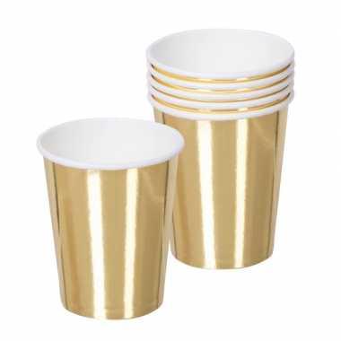 Vintage 60x gouden feest bekertjes van karton 250 ml