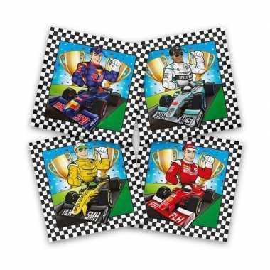 Vintage 60x race/formule 1 themafeest servetten gekleurd 33 x 33 cm