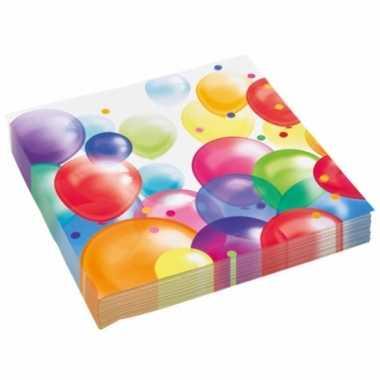 Vintage 60x stuks feest servetten met ballonnen print 33 x 33 cm