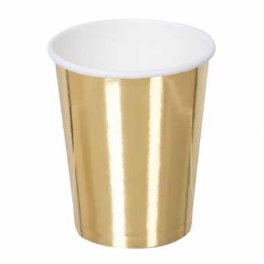Vintage 6x gouden feest bekertjes van karton 250 ml