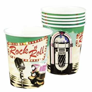 Vintage 6x rock n roll bekertjes 250 ml