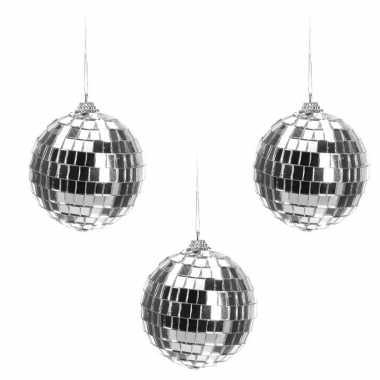 Vintage 6x zilveren disco kerstballen discoballen/discobollen 8 cm