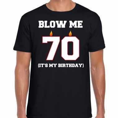 Vintage 70 jaar verjaardag cadeau t-shirt blow me its my birthday zwart voor heren