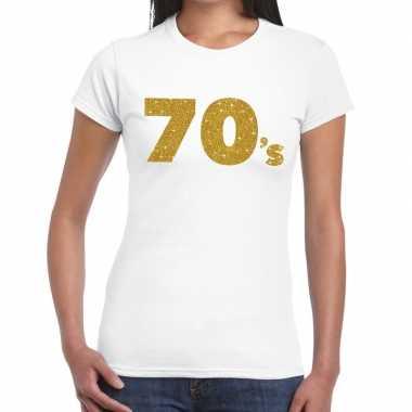 Vintage 70's goud glitter t-shirt wit dames