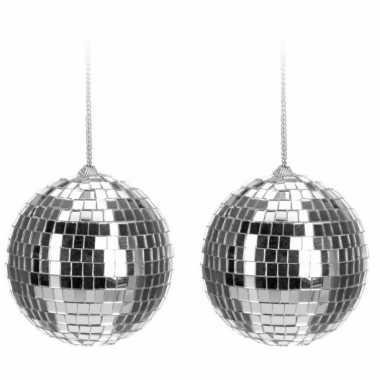 Vintage 8x kerstboom decoratie discobal kerstballen zilver 6 cm