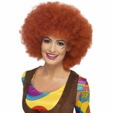 Vintage afro damespruik roodbruin