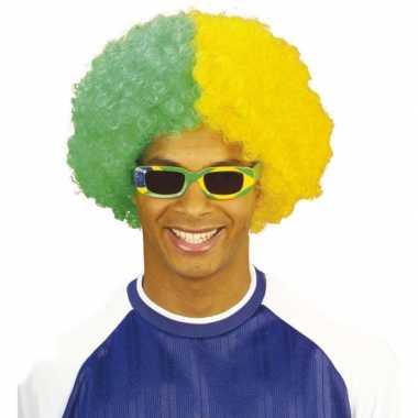 Vintage afropruik geel / groen