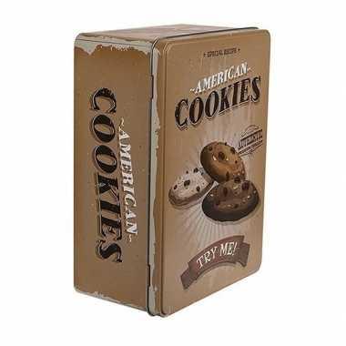 Vintage bewaarblik american cookies bruin 22 cm