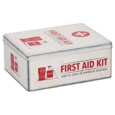 Vintage bewaarblik first aid kit retro print rood / creme 18 x 11 cm