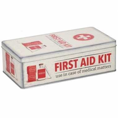 Vintage bewaarblik first aid kit retro print rood / creme 26 x 13 cm