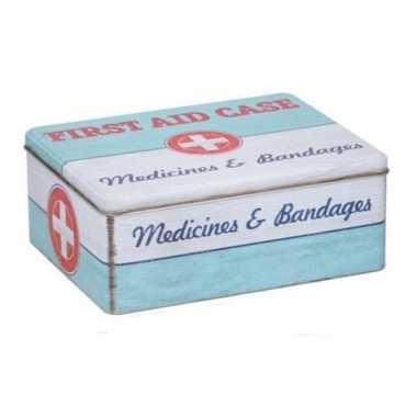 Vintage bewaarblik first aid retro print mint groen / wit 18 x 11 cm