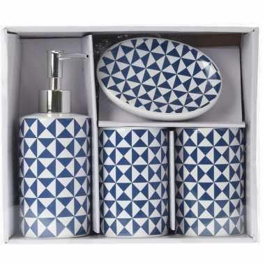 Vintage blauw/witte retro badkamer set 4-delig