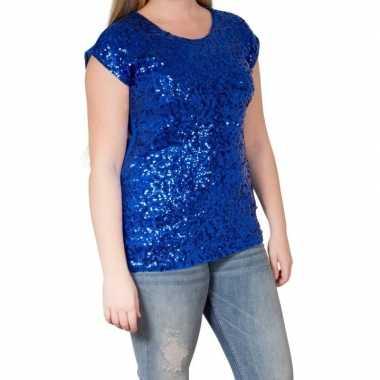 Vintage blauwe glitter pailletten disco shirt dames l/xl