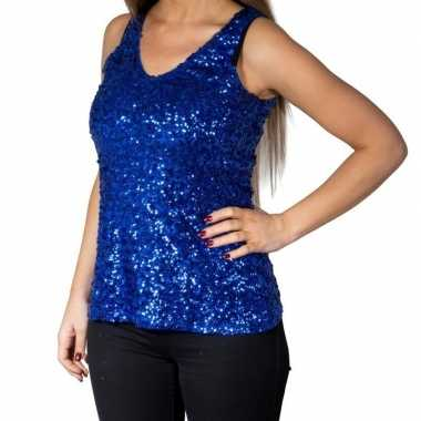 Vintage blauwe glitter pailletten disco topje/ mouwloos shirt dames