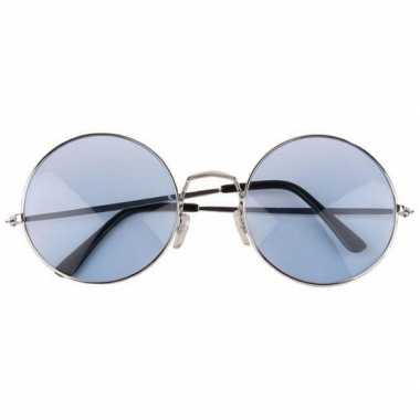 Vintage blauwe hippie bril met grote glazen