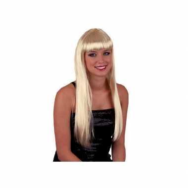 Vintage blonde damespruik met pony en lang stijl haar