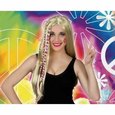 Vintage blonde hippie / flower power verkleed pruik voor dames