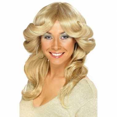 Vintage blonde seventies pruik voor dames