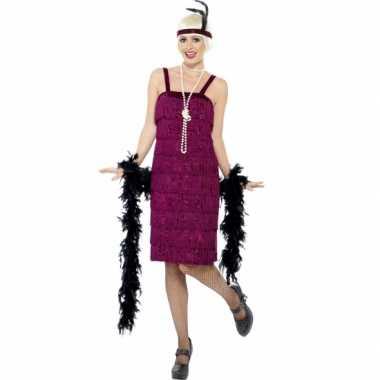 Vintage bordeaux rood flapper jurkje verkleed kostuum voor dames