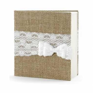 Vintage bruiloft gastenboek van jute met strik