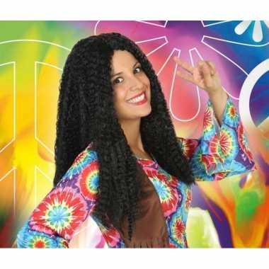 Vintage bruine hippie / flower power verkleed pruik voor dames