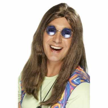 Vintage bruine hippie herenpruik