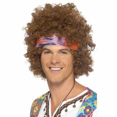 Vintage bruine hippie pruik met haarband voor heren