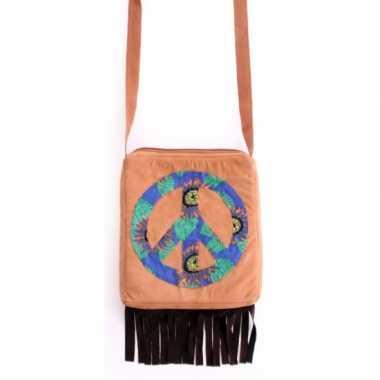 Vintage bruine hippie schoudertas