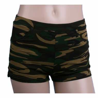 Vintage camouflage print hotpants voor dames