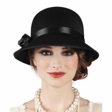 Vintage charleston hoed zwart voor dames