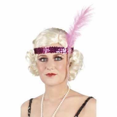 Vintage charleston hoofdband roze