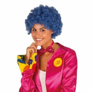 Vintage clownspruik met blauwe krulletjes verkleed accessoire