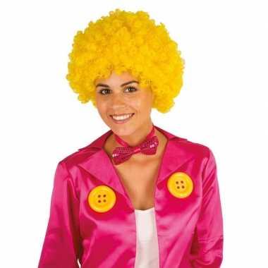 Vintage clownspruik met gele krulletjes verkleed accessoire