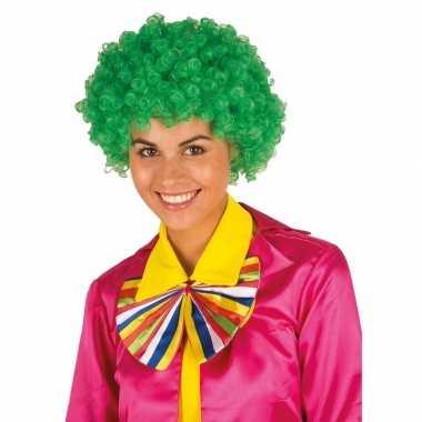 Vintage clownspruik met groene krulletjes verkleed accessoire