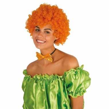 Vintage clownspruik met oranje krulletjes verkleed accessoire