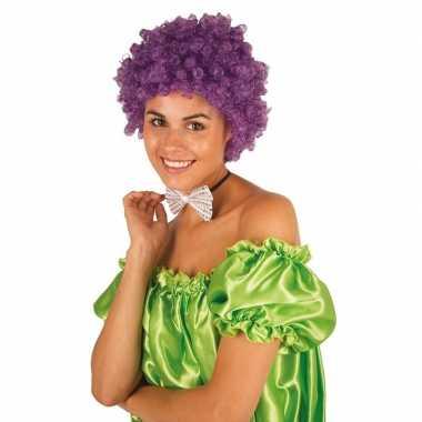 Vintage clownspruik met paarse krulletjes verkleed accessoire