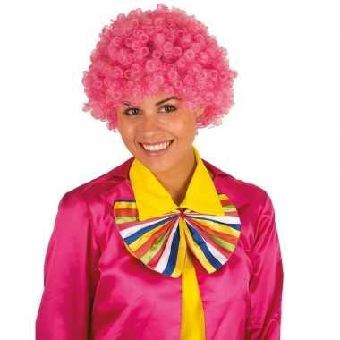 Vintage clownspruik met roze krulletjes verkleed accessoire