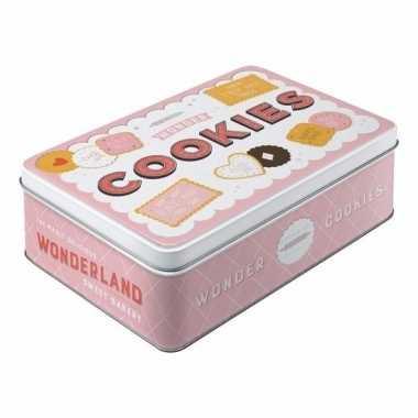 Vintage cookies bewaarblik roze 23 cm