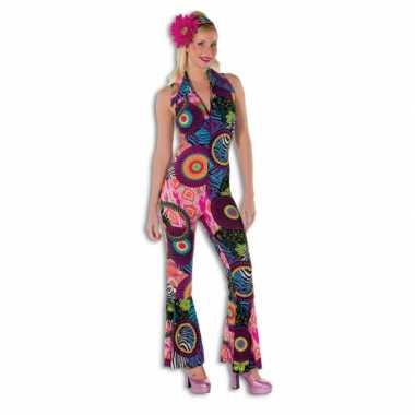 Vintage dames disco jumpsuit gekleurd