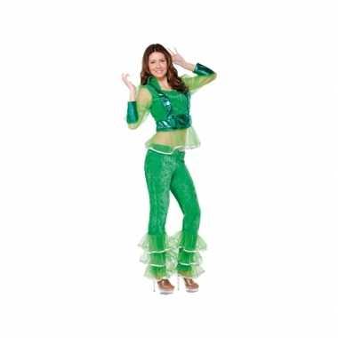 Vintage disco kostuum groen voor dames