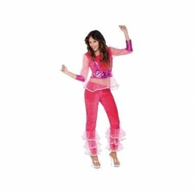 Vintage disco kostuum roze voor dames