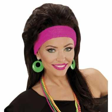 Vintage disco oorbellen neon groen