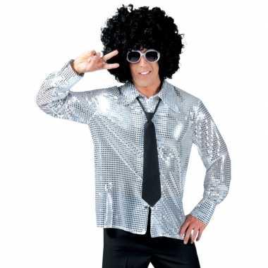 Vintage disco pailletten blouse zilver voor heren