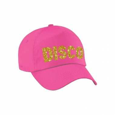 Vintage disco pet /cap roze met gouden bedrukking volwassenen